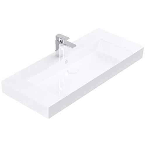 Handwaschbecken zur Wandmontage – Keramik Waschbecken eckig 100 cm – Farbe: Weiß