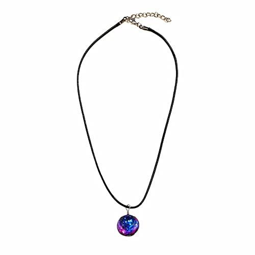 Aoten Collar luminoso, colgante de cristal, diseño de galaxia con estrella, regalo para la amistad