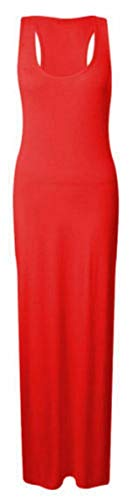 REAL LIFE FASHION LTD Womens Racer Back Maxi#(Red Plain Sleeveless Scoop Neck Racer Back Maxi Dress#UK 12-14#Womens)