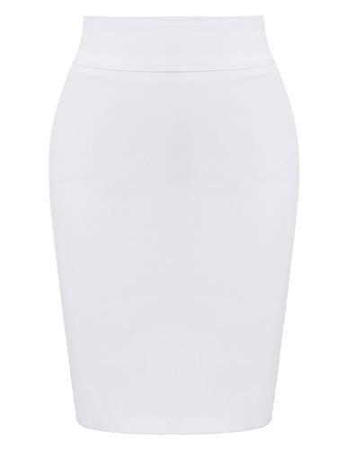 Frauen Retro 40er Jahre Plain Hohe Taille Party Bleistift Röcke Weiß (KK276-4) X-Large