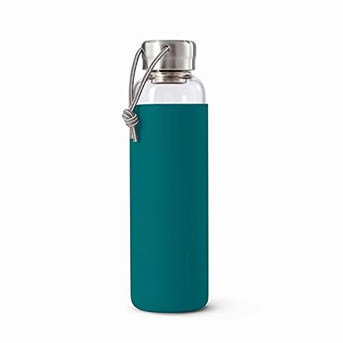 Black+Blum Cristal | Antigoteo ligero botella de agua de viaje con funda protectora, Ocean, 600 ml