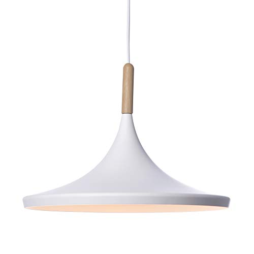 Lussiol 250555 - Lámpara colgante (metal y madera, 60 W, 36 x 26 cm), color blanco y natural