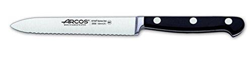 Arcos Serie Clasica, Cuchillo Tomatero, Hoja de Acero Inoxidable Forjado Nitrum 130 mm, Mango de Polioximetileno, POM Color Negro