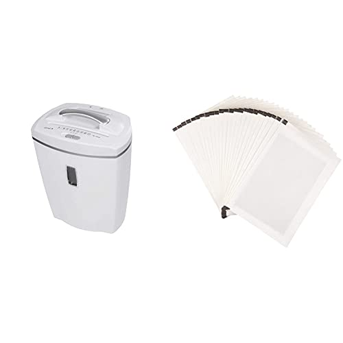 Genie 580 XCD Aktenvernichter, bis zu 10 Blatt, Partikelschnitt (Sicherheitsstufe P-4), mit CD - Shredder, inkl. Papierkorb, weiß & Amazon Basics - Schmiermittelblätter für Aktenvernichter, 24er-Pack