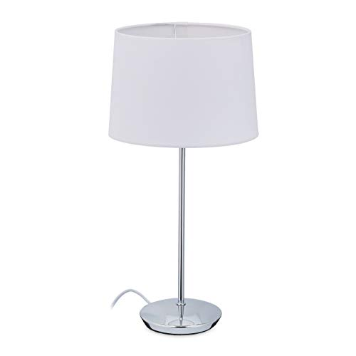 Relaxdays Lámpara de mesa con pantalla de tela, base cromada, casquillo E14, salón y...