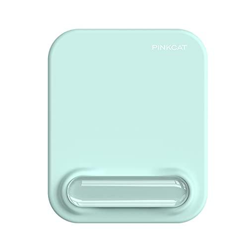 PINKCAT Tapis de Souris avec Repose Poignets, 2-en-1 Ergonomique Confortable Gel de Silice Mousepad, Anti-Douleur, Tissu en Soie, Base en PU Antidérapant, Durable pour Souris Laser/Optique (Bleu)