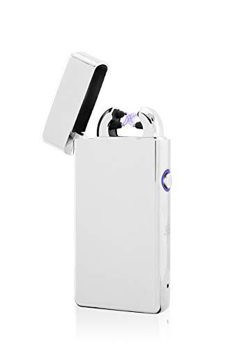 TESLA Lighter TESLA Lighter T08 Lichtbogen Feuerzeug, Plasma Double-Arc, elektronisch wiederaufladbar, aufladbar mit Strom per USB, ohne Gas und Benzin, mit Ladekabel, in edler Geschenkverpackung Silber Silber