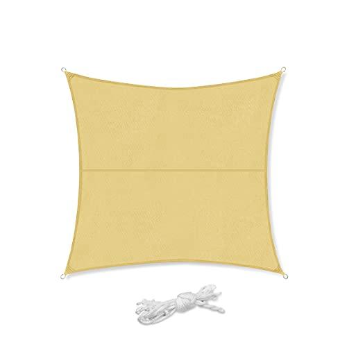 Sekey Toldo Vela de Sombra Cuadrado Protección Rayos UV, Resistente Impermeable para Patio, Exteriores, Jardín, 3.6×3.6m Arena