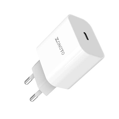 Zonoto USB C Adapter Schnellladegerät Netzteil 20W Ladegerät 3.0 Type C Charger Kompatibel mit SE 2020 12 11 Pro Max XR X 8 Plus iPad Pro AirPods Pro, Pixel 3/4, Galaxy S9 S8 S10 S20 S21, Switch