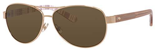 Kate Spade New York Women#039s Dalia 2 Aviator Sunglasses Light Gold/Brown Polarized 58 mm