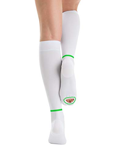 T.E.D. Hose Anti Embolism Stockings for Women Men Knee High, 15-20 mmHg Compression Socks with Inspect Toe Hole