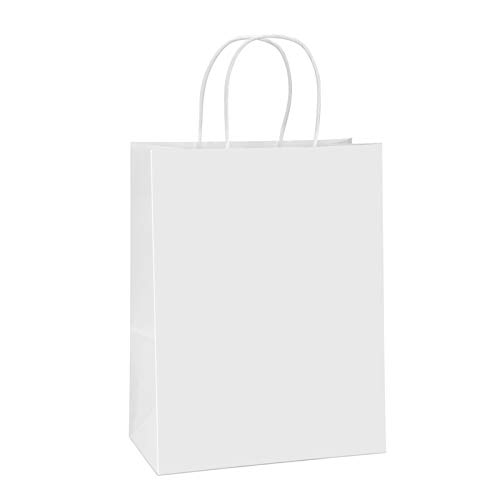 BagDream Paper Bags 10x5x13 100Pcs White Kraft Paper Gift Bags, Shopping Bags, Merchandise Bags, Retail Bags, Party Bags, Gift Bags with Handles Bulk, 100% Recyclable Paper Bags