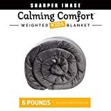 Calming Comfort Weighted Blanket by Sharper Image- A Heavy Blanket| 6 lbs, 41 in x 60 in, Grey