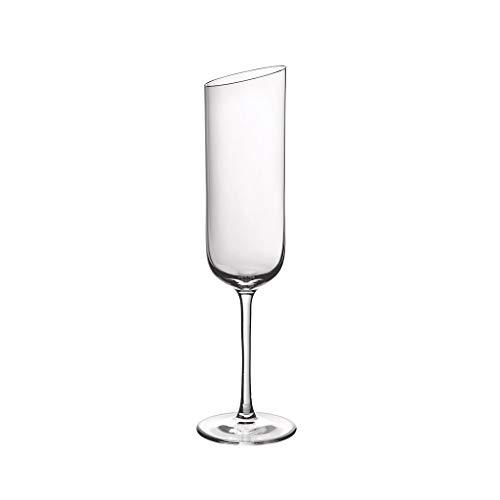 Villeroy & Boch 11-3653-8130 NewMoon Set 4 Piezas, Elegantes y ContemporaneasCopas de champán, Apto para lavavajillas, Cristal, Transparente