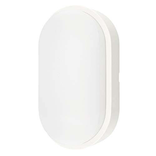 14W LED 4000K IP54 Flush Wall Mounted Oval Bulkhead Light Fitting with White Trim - Perfect for Indoor, Outdoor, Bath, Office, Hallway, Corridor, Utility, Garden, Shed, Workshop, Patio etc