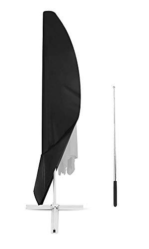 YOUSHENG Outdoor patio Zwart strand parasol set oversized cantilever paraplu cover met rits, waterdicht en ademend oxford stof