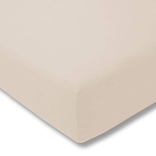 ESTELLA - Sábana Bajera Ajustable (Jersey Fino), algodón, Polvos de Talco, 90-100 (Breite) x 190-200 (Länge)