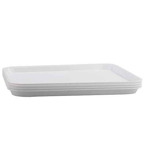 Inhouse - Juego de 4 bandejas para servir (43 x 34 cm), color blanco