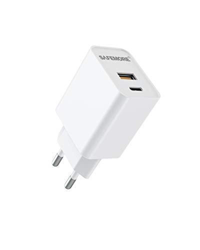 SAFEMORE Cargador USB C, Power Delivery 20 W carga rápida, cargador Pared Adaptador con 2 puertos para iPhone 12/12 Mini/12 Pro/12 Pro Max, AirPods Pro, Google Pixel, iPad, Switch