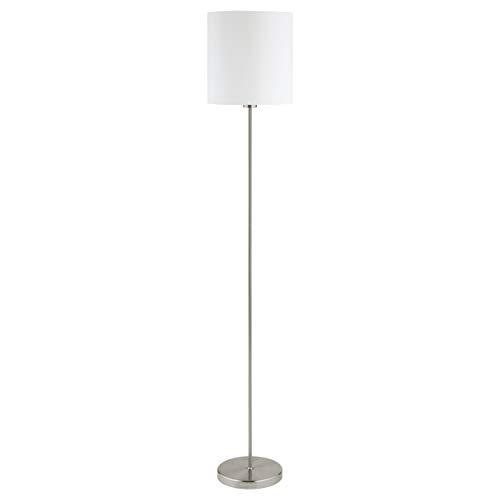 EGLO Stehlampe Pasteri, 1 flammige Textil Stehleuchte, Standleuchte aus Stahl und Stoff, Farbe: Nickel matt, weiß, Fassung: E27, inkl. Fußschalter