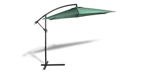 909 OUTDOOR Parasol déporté inclinable Vert, Parasol Jardin décentralisé, Parasol Suspendu en Polyester et Structure métallique, Hauteur 2.5 m, Diamètre 3 m