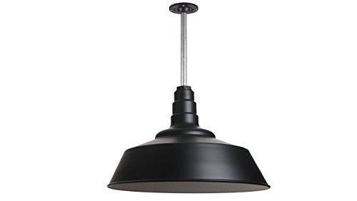 The Manhattan Industrial Pendant Light | Large Warehouse Barn Light with Rigid Stem for Ceiling | Heavy Duty Steel Light | Made in America (Matte Black)