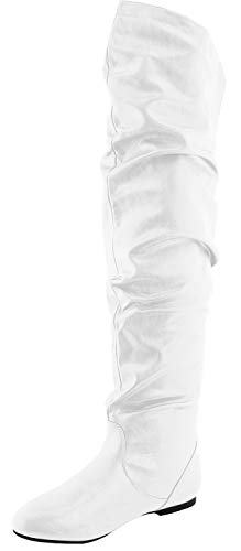 Nature Breeze Women's Stretchy Thigh High Boot,White Pu,8.5
