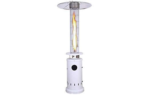 DRIWEI Stufa a Gas Fungo Fire Glass 13KW Bianca Piramide Esterno 221cm GPL KE2020/W