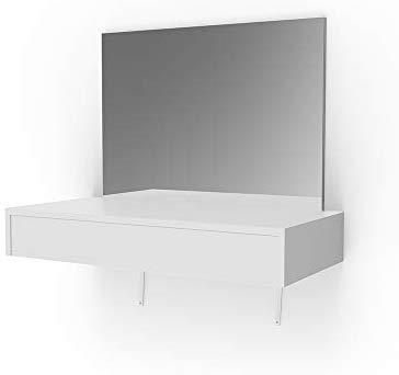 Vicco Schminktisch Alessia Weiß wandhängend mit Bank - Frisiertisch Kommode Spiegel +++ Schminkkommode mit großen Schubfächer und riesigen Spiegel +++ (ohne LED)
