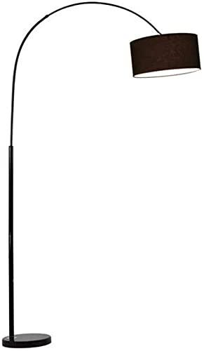 LXNQG Lámpara de pie, Lámpara de pie, Arco Moderno Dimmable Sala de Estar Temperaturas y Brillo, Lámpara de Tela Negra, Cuerpo de la lámpara de pie Forjado, Base de mármol