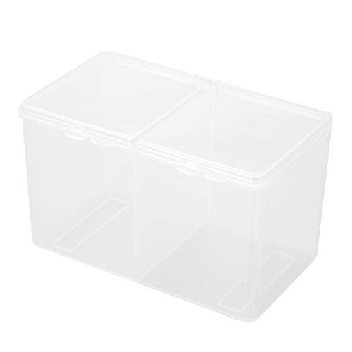Sieraden Organizer Box Doorzichtige Organizer Box voor Bead Storage, 2 Grids Wattenschijfjes Wattenstaafjes Container Nagellak Glitter Powder Organizer Storage Box