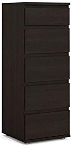 Atlin Designs 5 Drawer Narrow Tall Chest In Coffee