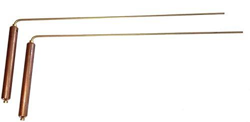2 Baguettes parallèles de sourcier * POIGNEE LARGES * poignée de rotation CUIVRE haut. 12 cm - tige LAITON 34 cm