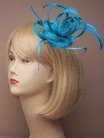 Cristal innovation-4327aux couleurs vives en toile de jute à filet et plumes sur une pince bec avec broche. En Bleu sarcelle