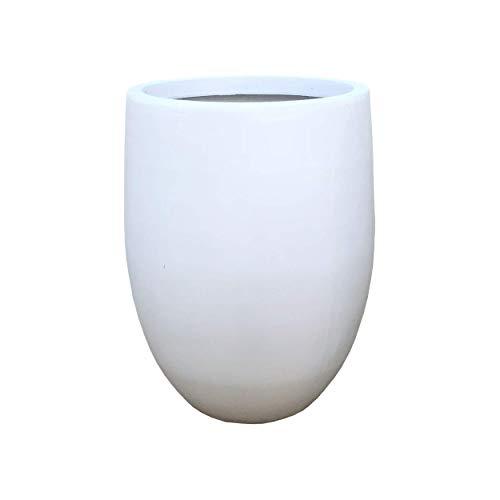 "Kante AC0066A-80011 Concrete Round Tall, Outdoor Indoor Modern Planters Pots for Balcony Garden Patio Deck, 21.7"" H, White"