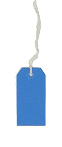USA-Made Gift Tags Pre-Strung in Variety of Colors and Sizes (#2 = 3.25 x 1.625 inches, PRE-Strung Blue)