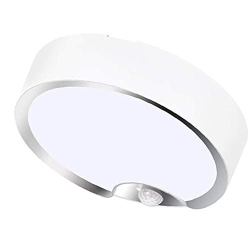 Sensor de movimiento LED Luz de techo Potpoted Fress Blanco Lámparas de noche con sensor de luz para el sótano de lavandería del pasillo de la escalera, luz de techo del sensor de movimiento redondo