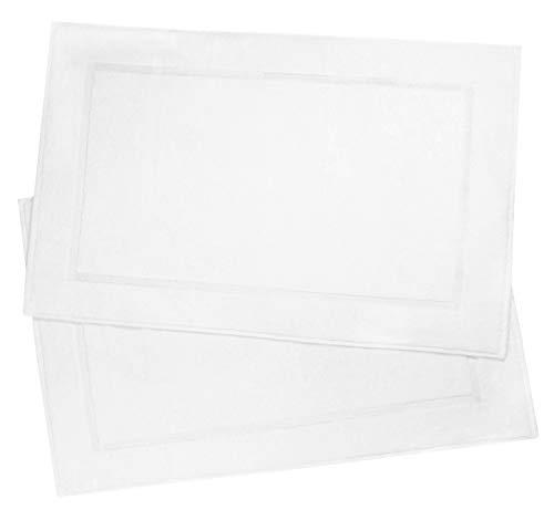 ZOLLNER 2 alfombras de baño, 100% algodón, 50x80 cm, Blanco