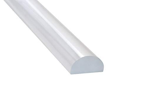 Schwallschutzprofil für Dusche | Acryl-Halbrundstab 10 x 20 x 1000 mm | Schlagfestes PMMA (Acryl) | Transparente Spritzschutz-Dichtung für Glasduschen