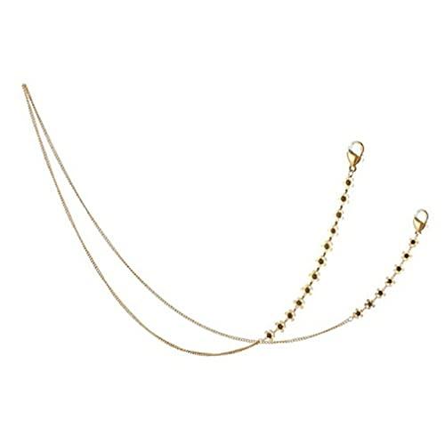 SeniorMar-UK Sonnenbrille Kette Gesichtsmaske Anti-Drop Hängende Kette Lächelndes Gesicht Benutzerdefinierte Kette Schlüsselband Hohe Maske Halskette Gold schwarz 74cm