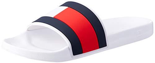 Tommy Hilfiger Pool Slide, Weiß - Dunkelblau - Rot, 43 EU