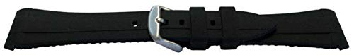 Rubber Watch Strap Made by W&CP to fit Rolex GMT Oyster & Omega SeaMaster Black/Red 20mm