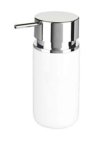 WENKO Seifenspender Silo Weiß - Flüssigseifen-Spender, Spülmittel-Spender Fassungsvermögen: 0.25 l, Keramik, 6.2 x 16.5 x 6.2 cm, Weiß
