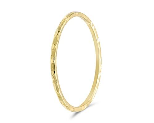 fajno | Goldring Damen gehämmert 585 Echtgold | Goldschmuck 14k Gold | Stapelring, Vorsteckring minimalistisch, dünn | Geschenkidee für Frauen