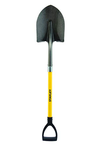 Stanley Garden BDS7673 Fiberglass D-Handle Round Point Shovel, Yellow