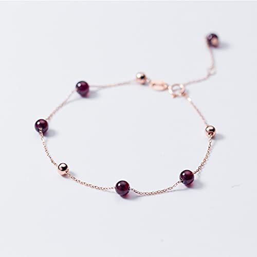 Sterling Silver Bracelet,S925 Sterling Silver Circle Bracelet Red Garnet Beaded Rolo Chain 7.8&Quot;Sweet Charm Adjustable Bangle Jewellery For Ladies Mum Wife Friends Anniversary Birthday Eternity