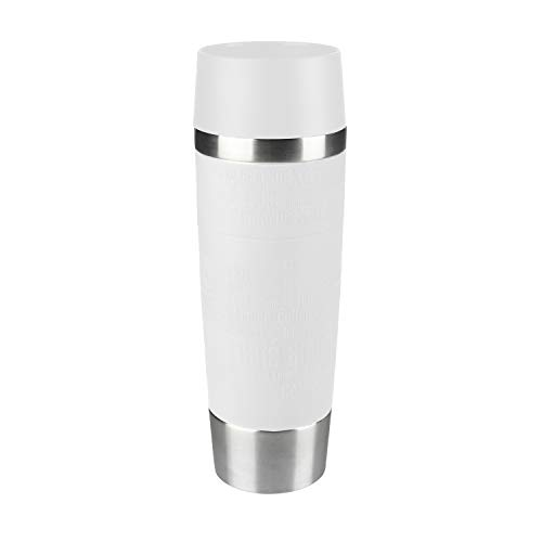 Emsa 515682 Travel Mug Standard-Design Grande, Thermobecher/Isolierbecher, 500ml, hält 4h heiß/ 8h kalt, 100{7e5707751c6de495d0edb88b946ea39af00e349fa2defffbbe13d0444c16bf11} dicht, auslaufsicher, Easy Quick-Press-Verschluss, 360°-Trinköffnung, Farbe weiß