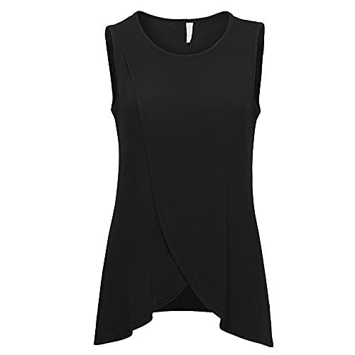 Camiseta Sin Mangas Mujer Dulce Color Sólido Cuello Redondo Dobladillo Irregular Mujer Camisa Verano Personalidad Juguetona Moda Simple Diseño Exquisito Elasticidad Mujer Sudadera A-Black L