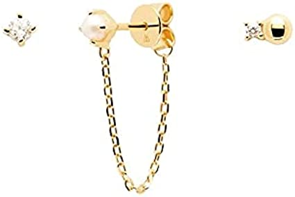 PDPAOLA - Set Pendientes Charlie Gold- Plata de Ley 925 Bañada en Oro de 18k - Joyas para Mujer