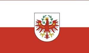 Sportfanshop24 Flagge/Fahne Tirol mit Wappen Staatsflagge/Landesflagge/Hissflagge mit Ösen 150x90 cm, Gute Qualität
